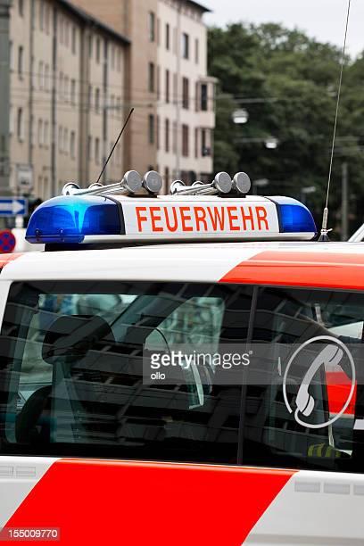 Flashing blue light, german fire engine car