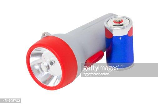 Lanterna Elétrica com bateria Isolada a branco. : Foto de stock