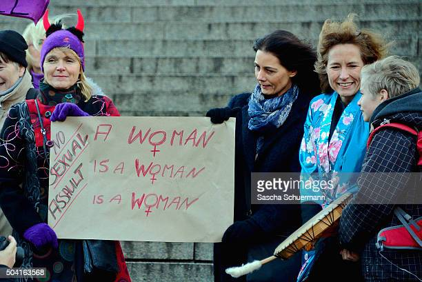 A flashmob gather in front of Cologne Cathedral next to Hauptbahnhof main railway to protest against the New Year's Eve sex attacks on January 9 2016...