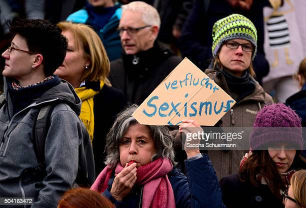 A flashmob gather in front of Hauptbahnhof main railway station to protest against the New Year's Eve sex attacks on January 9 2016 in Cologne...
