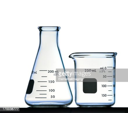 Flask and Beaker Isolated on White with Clipping Path