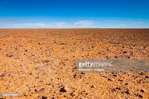 Flat, barren Moon Plain near Coober Pedy Australia