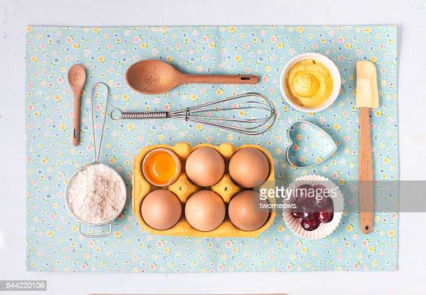 Flat lay bakery poster image. Baking utensil and ingredient on pastel light blue background.