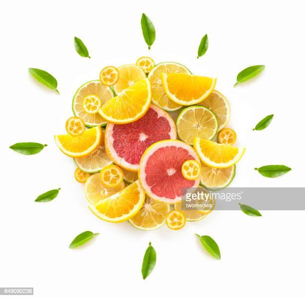 Flat lay conceptual citrus fruits image.