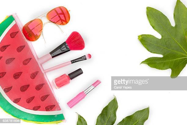 flat lay cosmetic  spring summer bag
