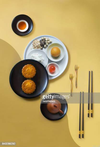 Flat lay food styled mid-autumn festival food and drink still life.
