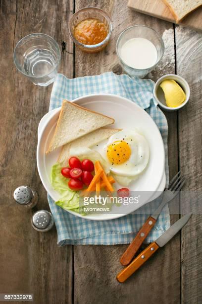 Flat lay healthy eating breakfast table top shot.