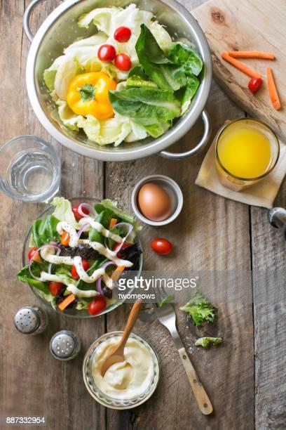 Flat lay healthy eating vegan food table top shot.