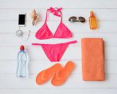 Flat lay items for sunbathing