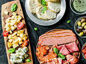 Traditional Italian appetizer cheeses and cold meats deli