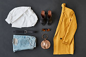 Flat Lay Shot Of Female Clothing And Accessories