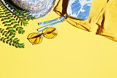 summer, fashion, women, clothing, yellow, backgrounds, sunglasses, hat, shorts
