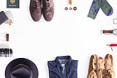 Flat lay shot of Traveler style guide. Traveler accessories. Still life