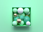 flat lay soft green pastel scene abstract geometric shape gold white marble 3d rendering square/cube box sphere in side