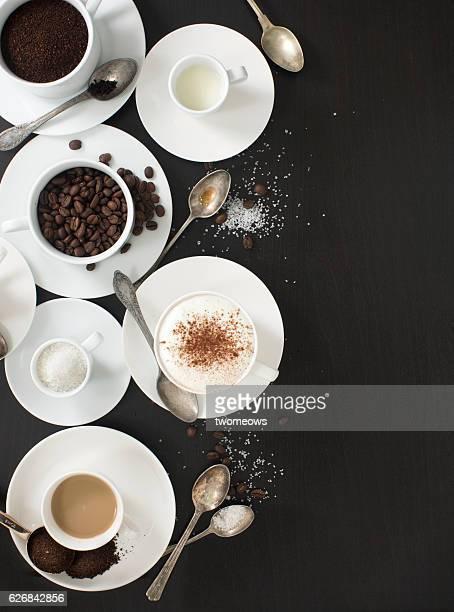 Flat lay variation of coffee recipe ingredients.