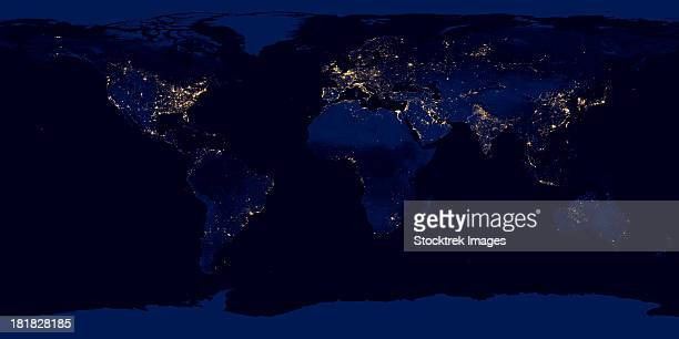 Flat map of Earth showing city lights of the world at night.
