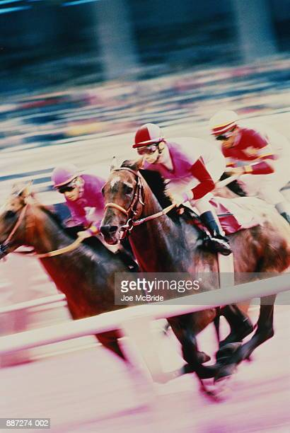 Flat racing, horses during race (blurred motion, infrared)