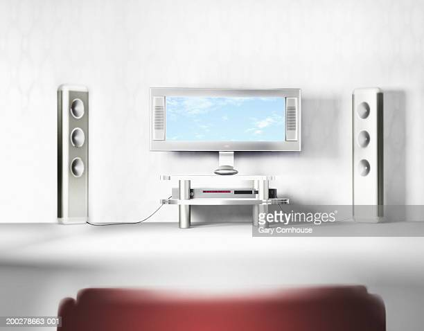 Flat screen television system with speakers