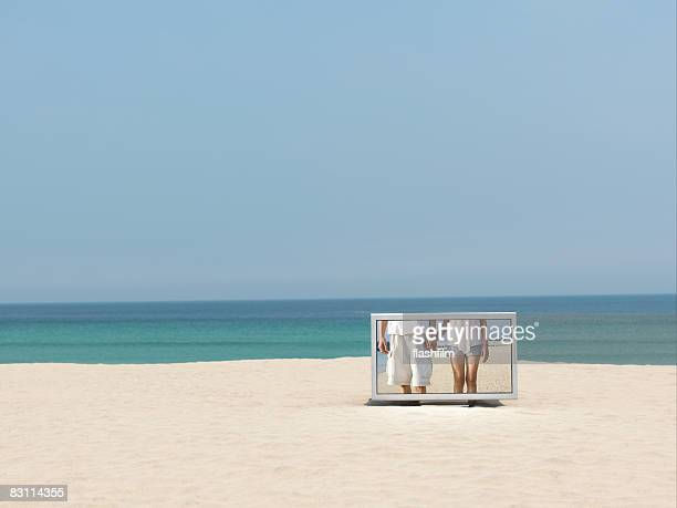 Flat TV placed on the beach
