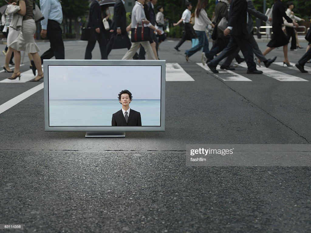 Flat TV placed on Ubran street : Stock Photo