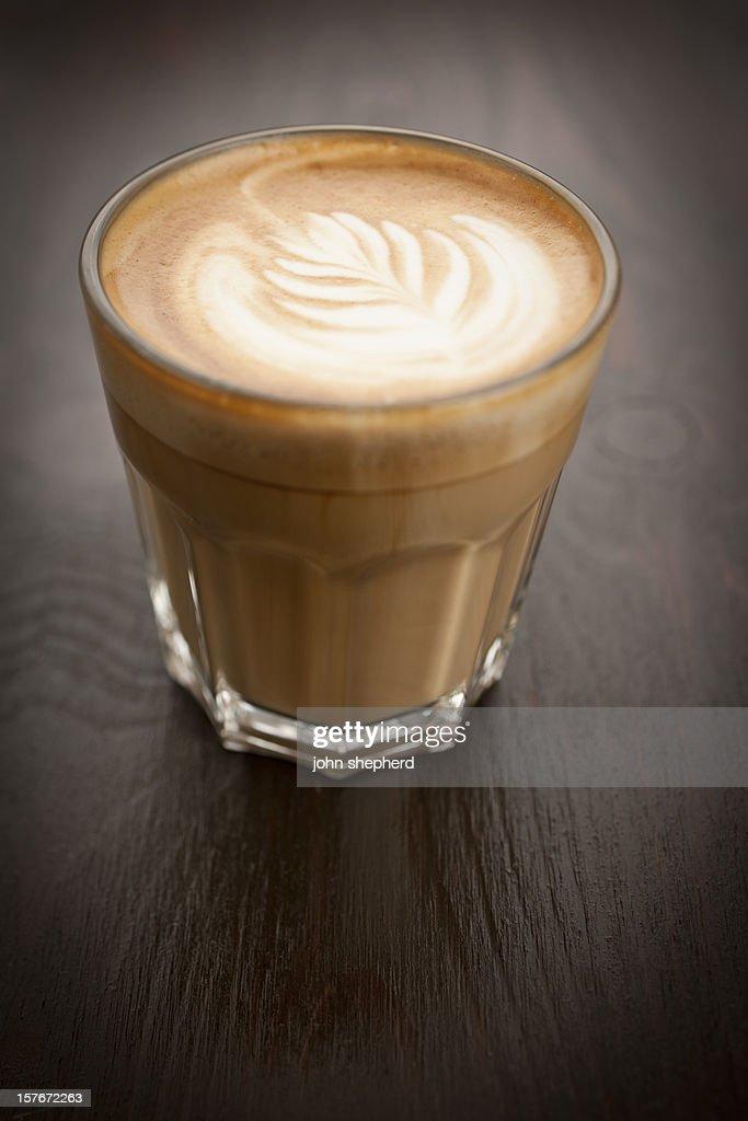 Flat white coffee : Stock Photo