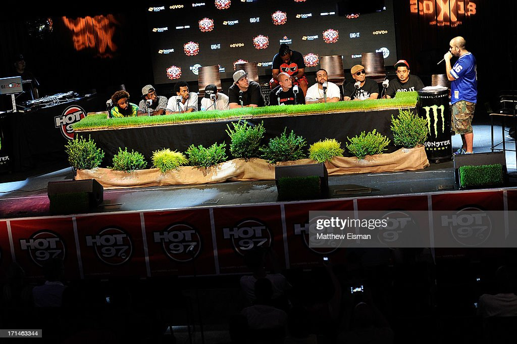 Flatbush Zombies, Derek Vincent Smith AKA Pretty Lights, Chang Weisberg, Bodega Bamz, Immortal Technique and Chris 'Broadway' Romero attend the Rock The Bells 2013 press conference at Highline Ballroom on June 24, 2013 in New York City.