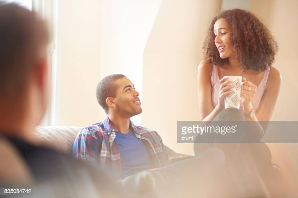 flatmates having a cuppa