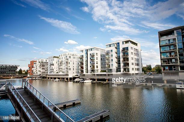 Flats on the riverside - Westhafen area, Frankfurt Germany