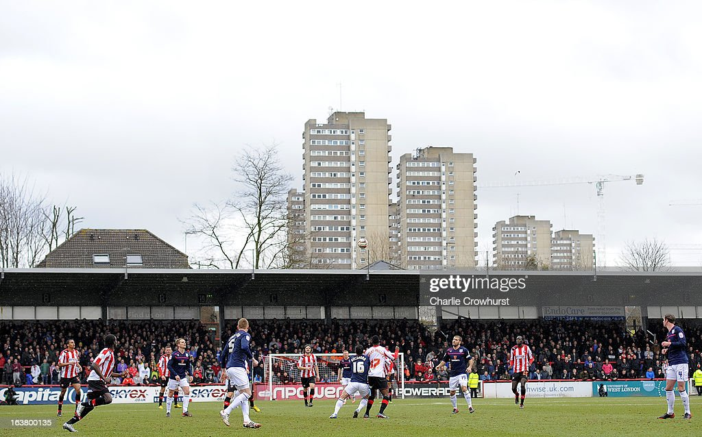 Flats over look Griffin Park, while play gets underway during the npower League One match between Brentford and Preston North End at Griffin Park on March 16, 2013 in London, England,