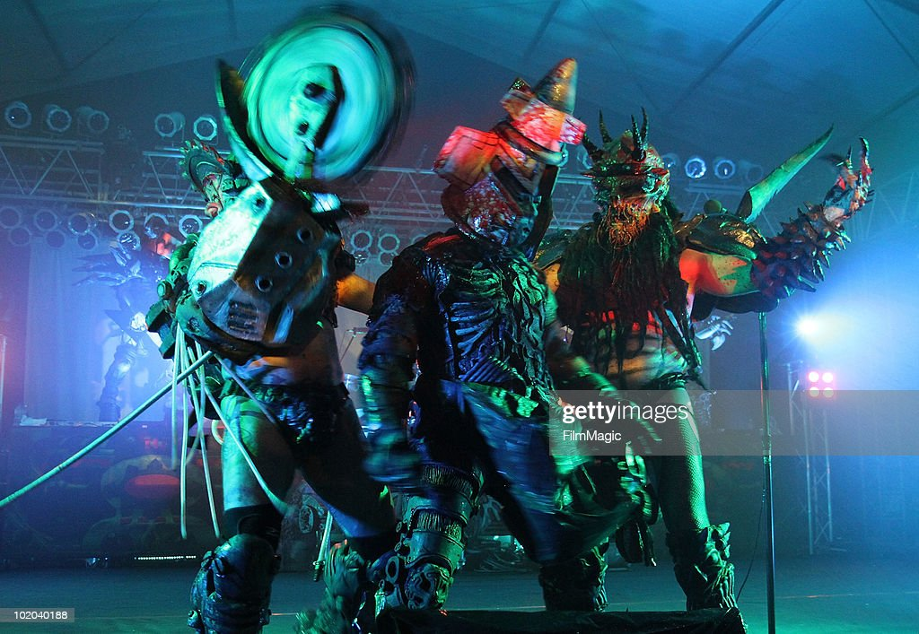 Flattus Maximus Jizmak Da Gusha and Oderus Urungus of GWAR performs onstage during Bonnaroo 2010 at The Other Tent on June 12 2010 in Manchester...