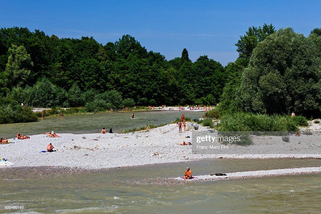 Flaucher nudist beach on River Isar, Munich