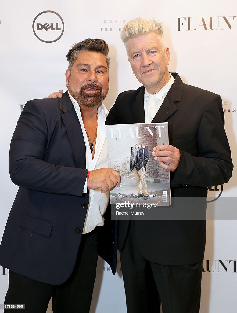 Flaunt Magazine Editor In Chief Luis Barajas (L) and <a gi-track='captionPersonalityLinkClicked' href=/galleries/search?phrase=David+Lynch&family=editorial&specificpeople=224589 ng-click='$event.stopPropagation()'>David Lynch</a> attend Flaunt Magazine and <a gi-track='captionPersonalityLinkClicked' href=/galleries/search?phrase=David+Lynch&family=editorial&specificpeople=224589 ng-click='$event.stopPropagation()'>David Lynch</a> celebrate the Shared Releases Of Context Issue and The Big Dream at an event powered by Dell at mmhmmm at The Standard, Hollywood on July 11, 2013 in Hollywood, California.