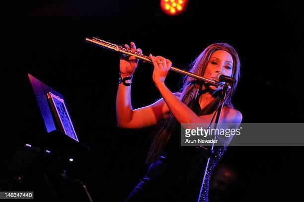 Flautist/Singer Kaylene Peoples performs at El Cid on June 13 2012 in Los Angeles California
