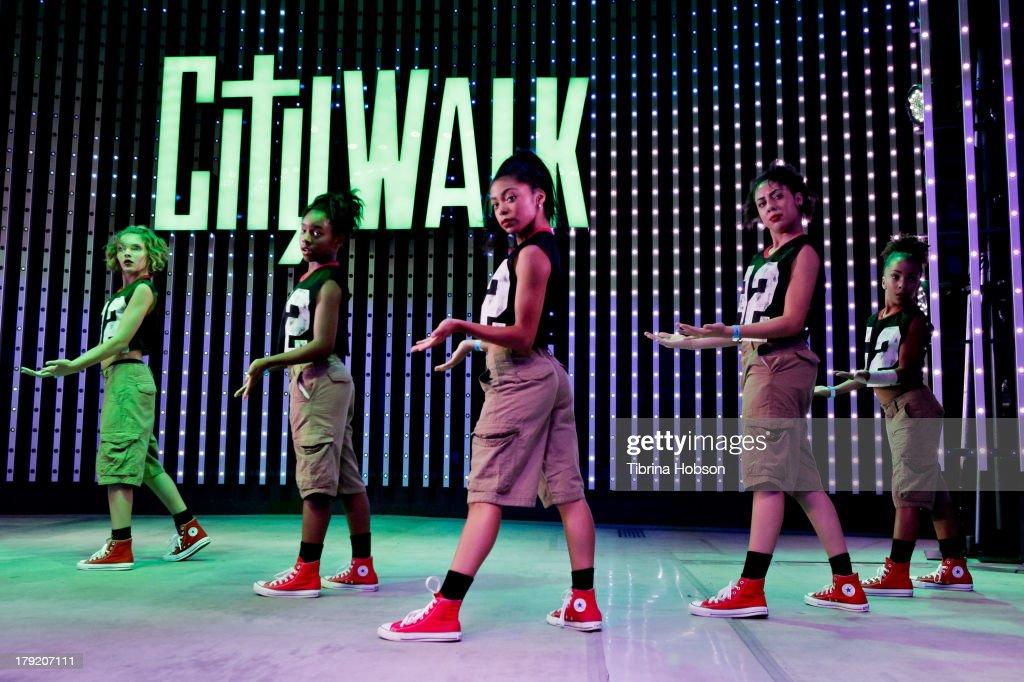 Flavahz crew dance group performs at the Universal CityWalk's 'Music Spotlight Series' World Of Dance at Universal CityWalk on August 31, 2013 in Universal City, California.