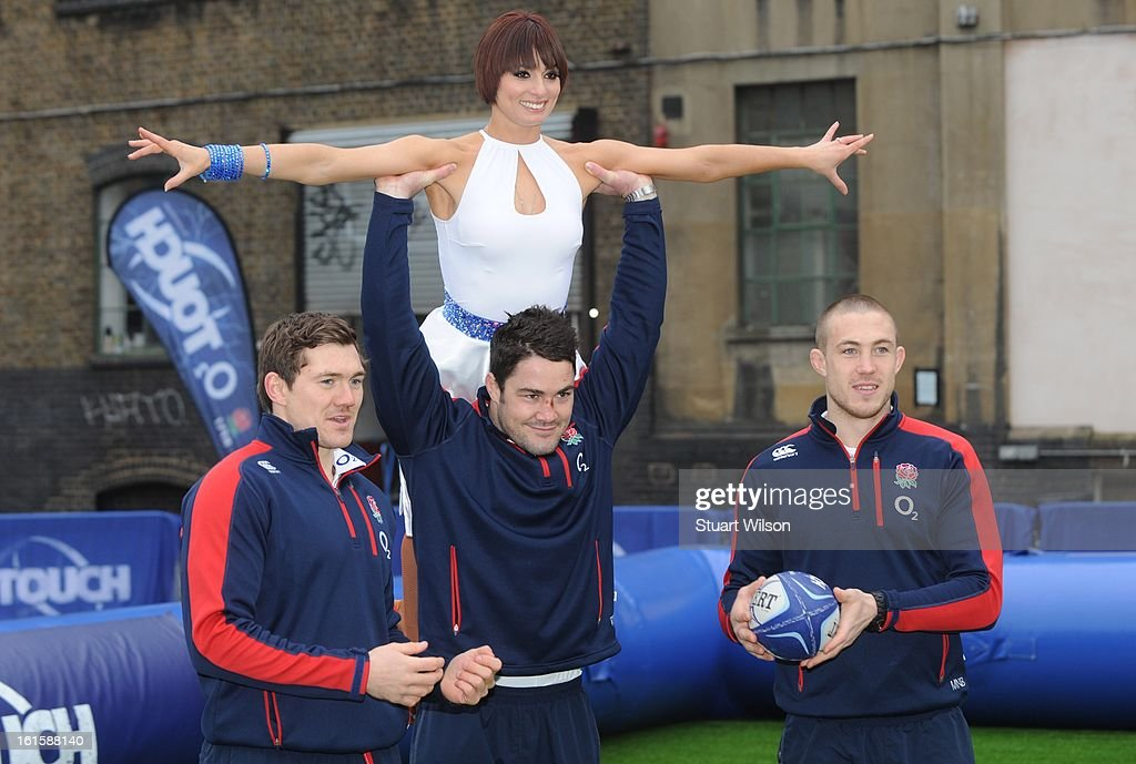 Flavia Cacace, <a gi-track='captionPersonalityLinkClicked' href=/galleries/search?phrase=Alex+Goode&family=editorial&specificpeople=2060375 ng-click='$event.stopPropagation()'>Alex Goode</a>, <a gi-track='captionPersonalityLinkClicked' href=/galleries/search?phrase=Brad+Barritt&family=editorial&specificpeople=4542508 ng-click='$event.stopPropagation()'>Brad Barritt</a> and Mike Brown attend a photocall to launch the National Touch Rugby Campaign at Ely's Yard on February 12, 2013 in London, England.