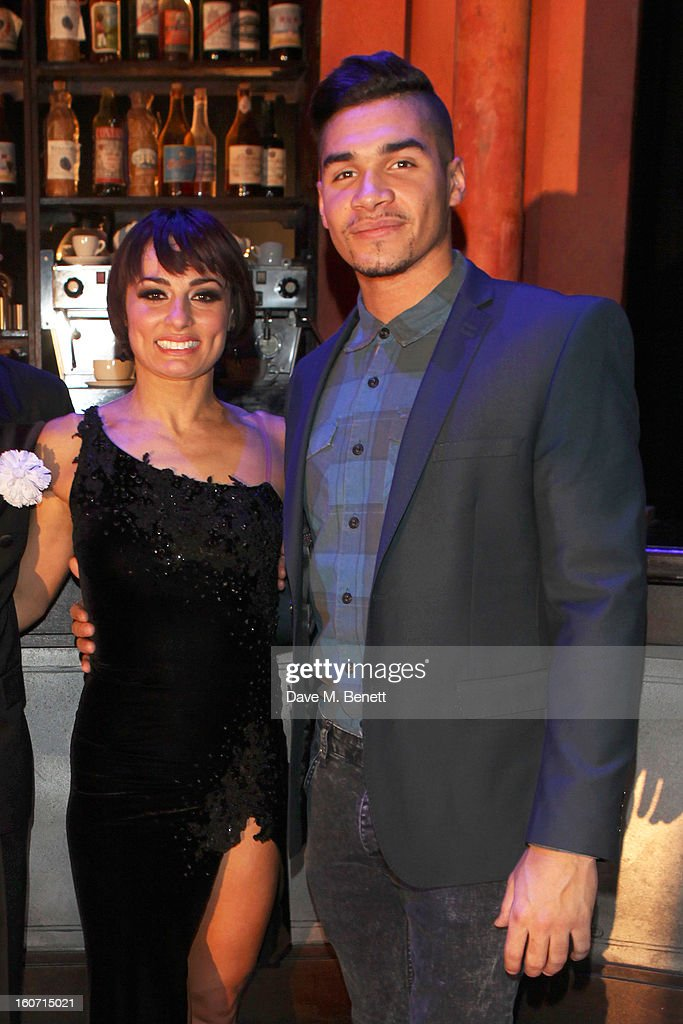 Flavia Cacace and <a gi-track='captionPersonalityLinkClicked' href=/galleries/search?phrase=Louis+Smith+-+Gymnast&family=editorial&specificpeople=798756 ng-click='$event.stopPropagation()'>Louis Smith</a> attend opening night of 'Midnight Tango' at the Phoenix Theatre on February 4, 2013 in London England.