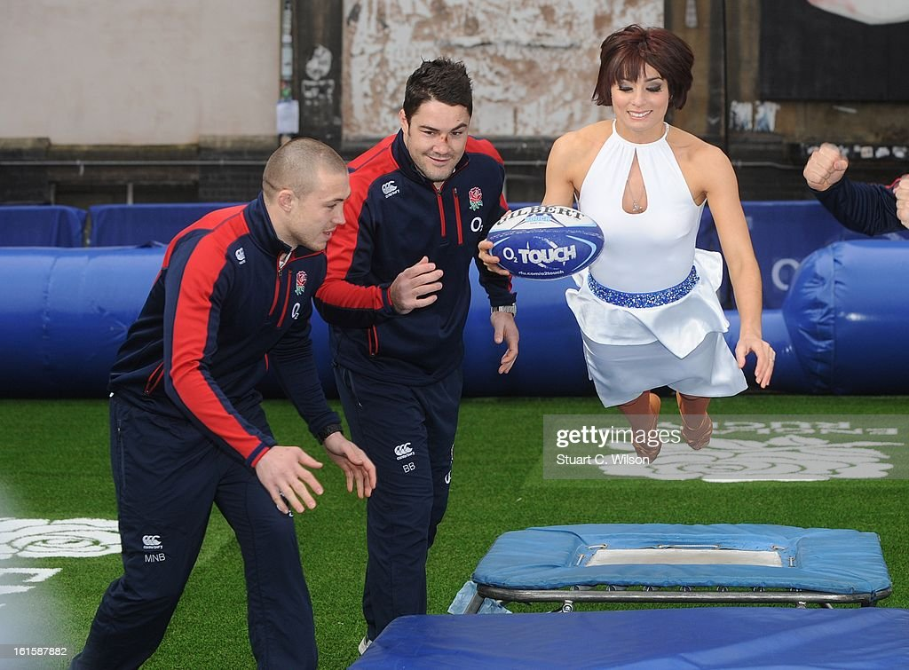 Flavia Cacace, Mike Brown, <a gi-track='captionPersonalityLinkClicked' href=/galleries/search?phrase=Brad+Barritt&family=editorial&specificpeople=4542508 ng-click='$event.stopPropagation()'>Brad Barritt</a> and <a gi-track='captionPersonalityLinkClicked' href=/galleries/search?phrase=Alex+Goode&family=editorial&specificpeople=2060375 ng-click='$event.stopPropagation()'>Alex Goode</a> attend a photocall to launch the National Touch Rugby Campaign at Ely's Yard on February 12, 2013 in London, England.