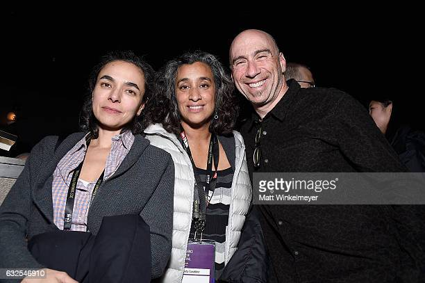 Flavia de Souza Geeta Gandbhir and composer and founder of Oovra Music Joel Goodman attend the Film Independent International Documentary Association...