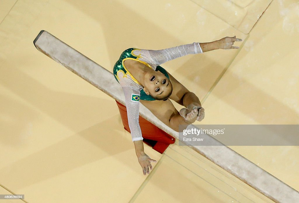 Flavia Lopes Saraiva of Brazil competes on the balance beam during the women's all around artistic gymnastics final on Day 3 of the Toronto 2015 Pan Am Games on July 13, 2015 in Toronto, Canada.