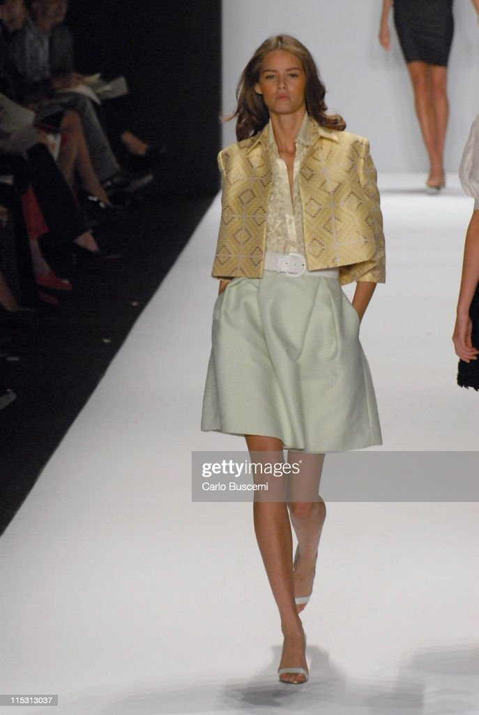 Flavia Oliveira wearing Bill Blass Spring 2007 during Olympus Fashion Week Spring 2007 - Bill Blass - Runway at The Tent, Bryant Park in New York City, New York, United States.