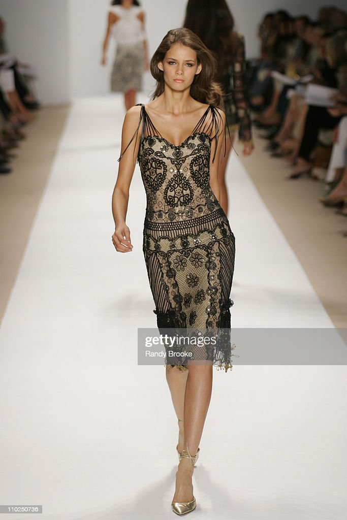 Flavia Oliveira wearing Naeem Khan Spring 2006 during Olympus Fashion Week Spring 2006 - Naeem Khan - Runway and Backstage at Bryant Park in New York City, New York, United States.