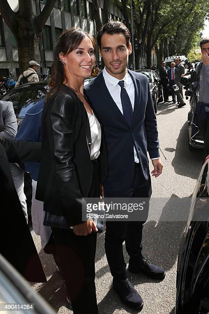 Flavia Pennetta and Fabio Fognini are seen during Milan Fashion Week Spring/Summer 2016 on September 28 in Milan Italy