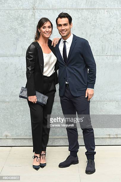 Flavia Pennetta and Fabio Fognini arrive at the Giorgio Armani show during the Milan Fashion Week on September 28 2015 in Milan Italy