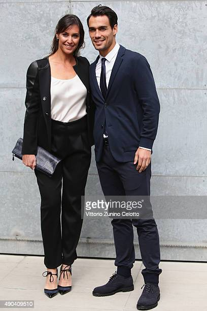 Flavia Pennetta and Fabio Fognini arrive at the Giorgio Armani show during the Milan Fashion Week Spring/Summer 2016 on September 28 2015 in Milan...
