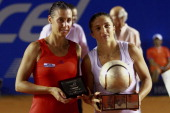 Flavia Pennetta and Sara Errani of Italia during Finals of the 2012 Mexican Open at Princess Hotel on March 3 2012 in Acapulco Mexico