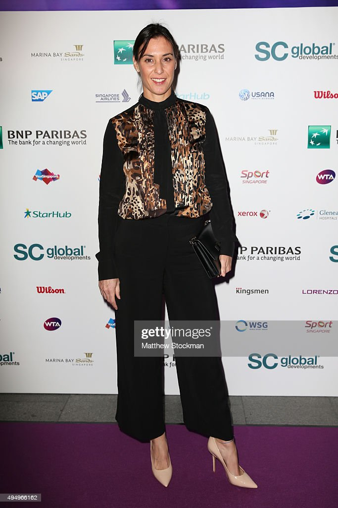Flavia Pennetta attends Singapore Tennis Evening during BNP Paribas WTA Finals at Marina Bay Sands on October 30, 2015 in Singapore.
