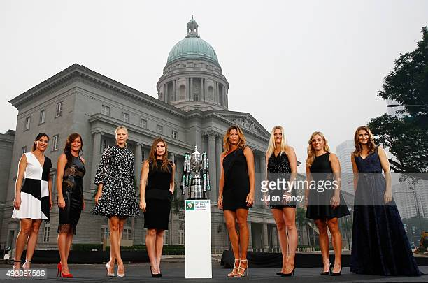 Flavia Pennetta of Italy Agnieszka Radwanska of Poland Maria Sharapova of Russia Simona Halep of Romania Garbine Muguruza of Spain Petra Kvitova of...