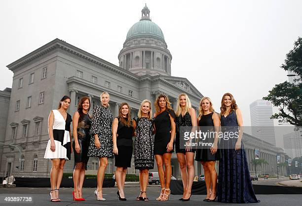 Flavia Pennetta of Italy Agnieszka Radwanska of Poland Maria Sharapova of Russia Simona Halep of Romania WTA President Micky Lawler Garbine Muguruza...
