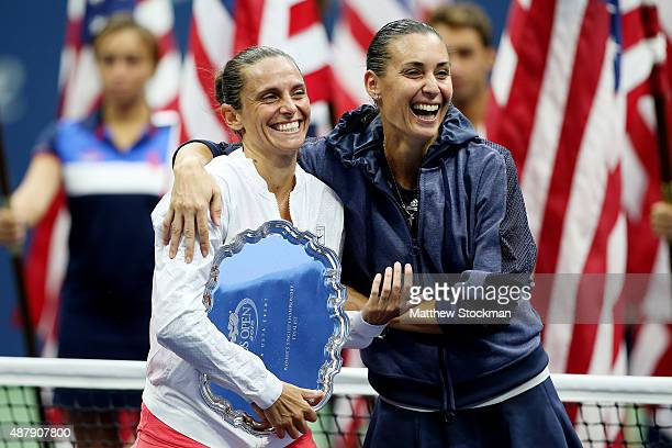 Flavia Pennetta of Italy and Roberta Vinci of Italy are interviewed by Broadcaster Robin Roberts after their Women's Singles Final match on Day...