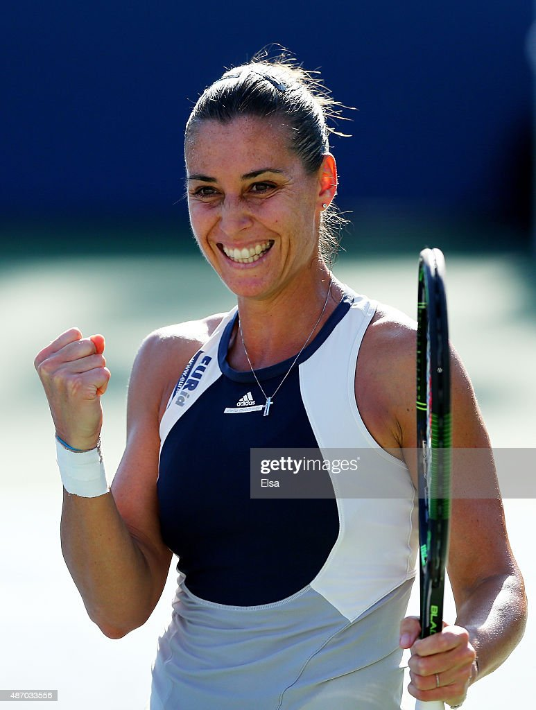 <a gi-track='captionPersonalityLinkClicked' href=/galleries/search?phrase=Flavia+Pennetta&family=editorial&specificpeople=220518 ng-click='$event.stopPropagation()'>Flavia Pennetta</a> of Italy celebrates after defeating Petra Cetkovska of the Czech Republic during their Women's Singles Third Round match Victoria Azarenka of Belarus on Day Six of the 2015 US Open at the USTA Billie Jean King National Tennis Center on September 5, 2015 in the Flushing neighborhood of the Queens borough of New York City.